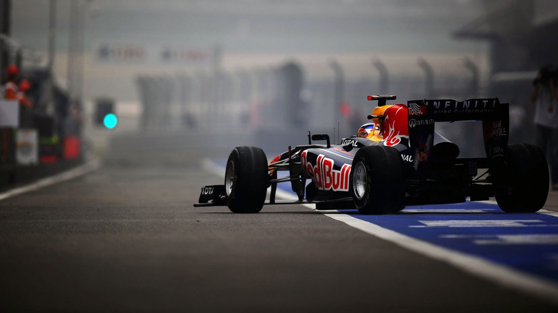 Download Wallpaper Red Bull sponsor for Formula 1 team  - Race car on the road