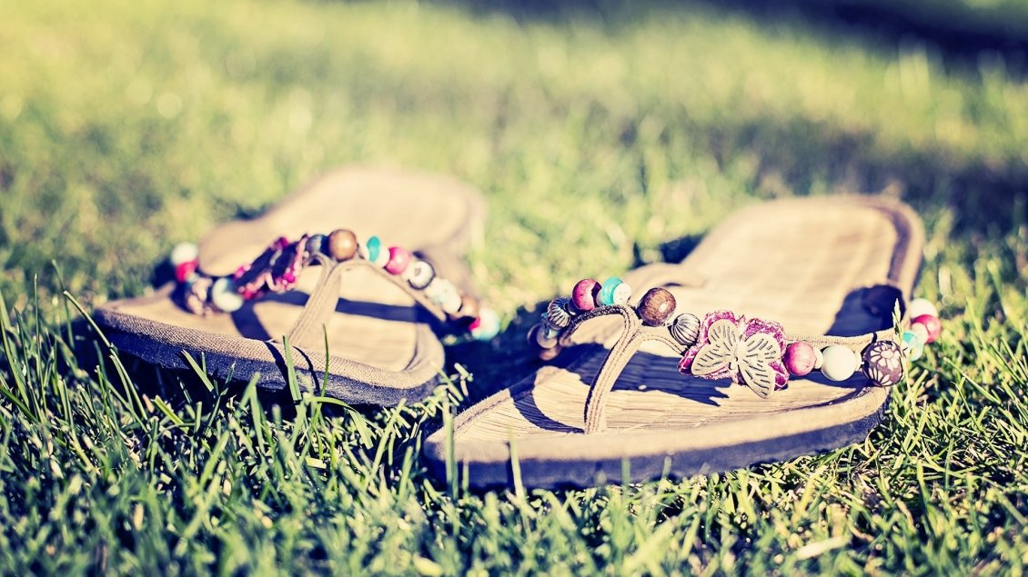 Download Wallpaper Summer shoes in the green grass - Perfect walk