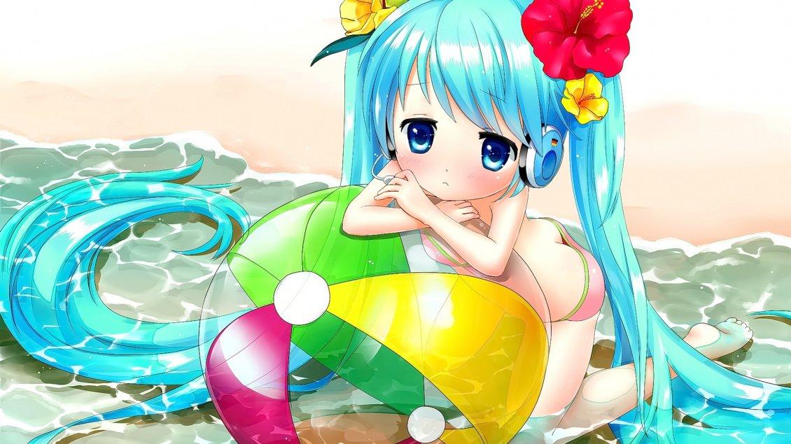 Anime girl with long blue hair at the seaside and beach - Beach anime girl ...