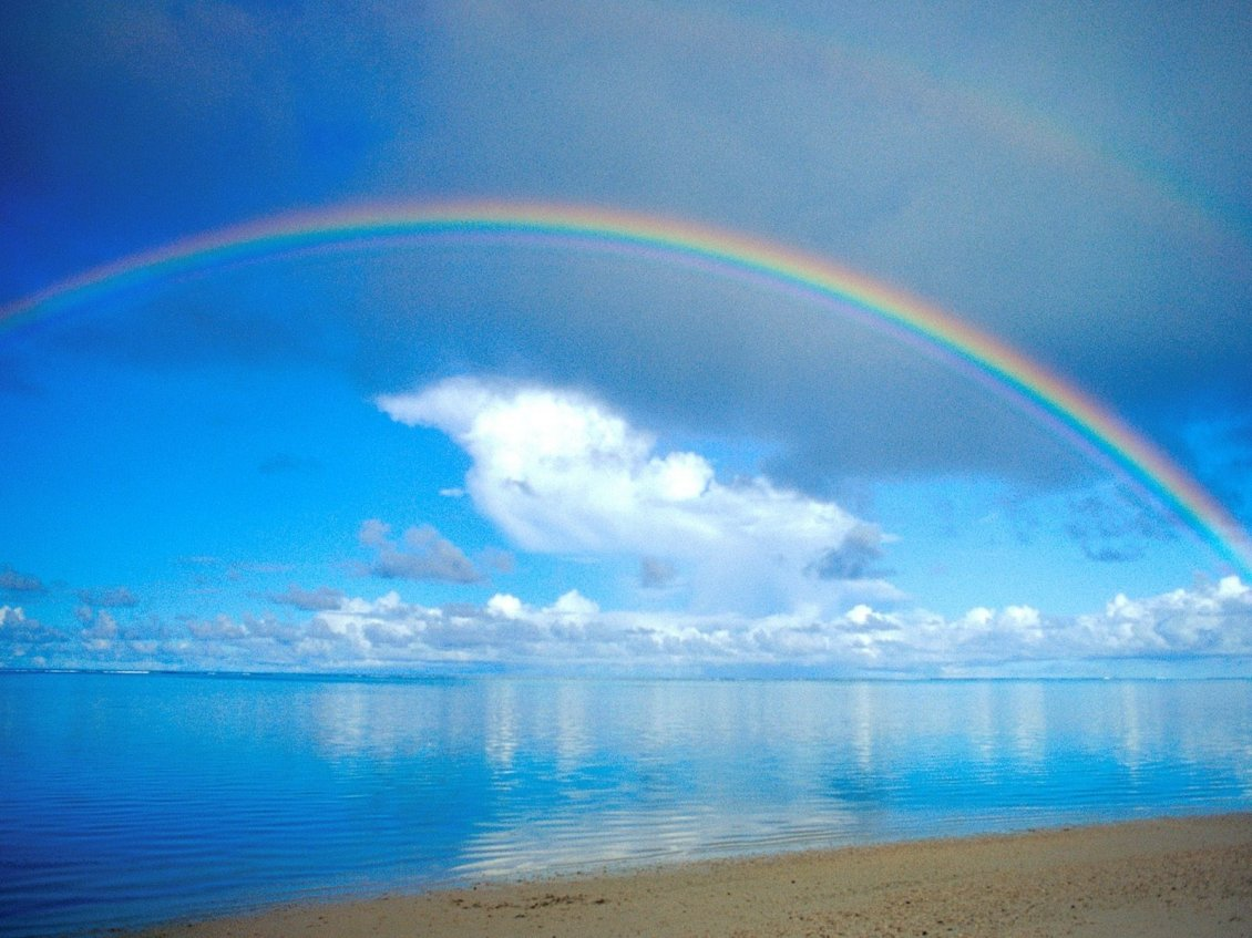 Download Wallpaper Beautiful rainbow over the blue ocean water - Sunny summer