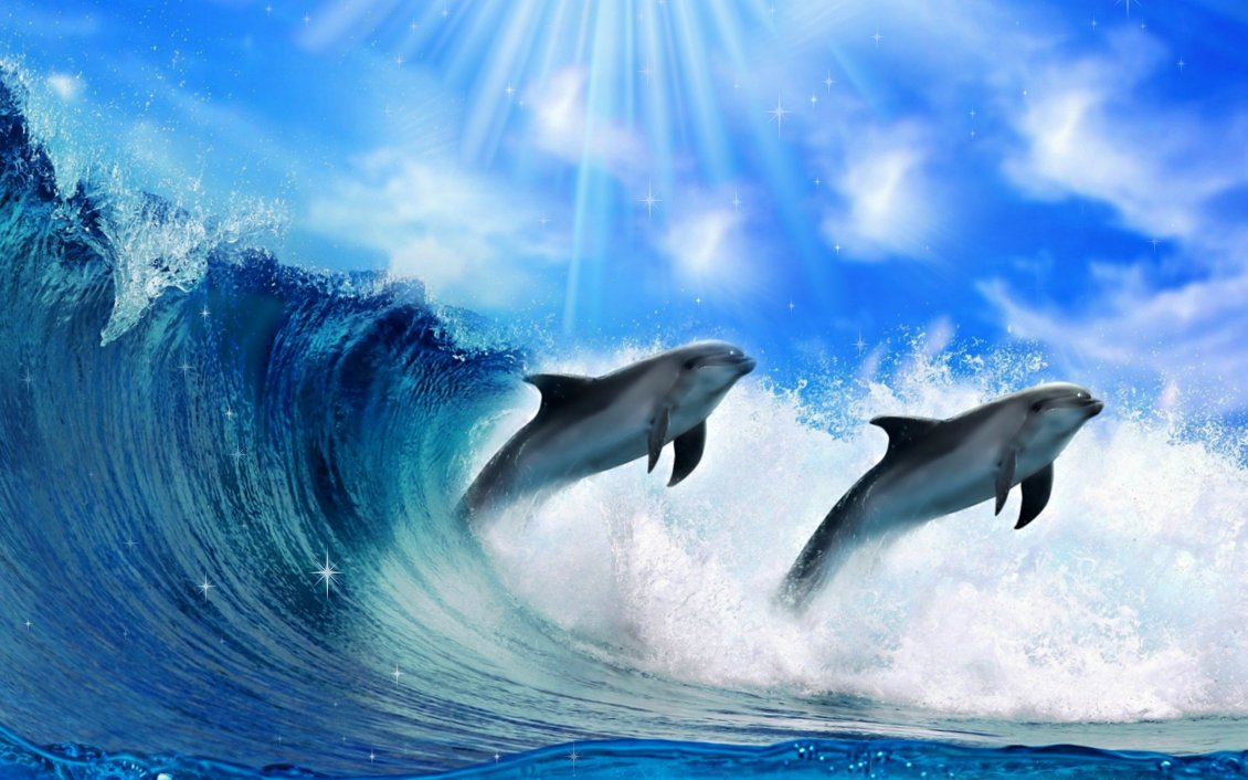 Download Wallpaper Inteligent animals -Dolphins play in the water jump in waves