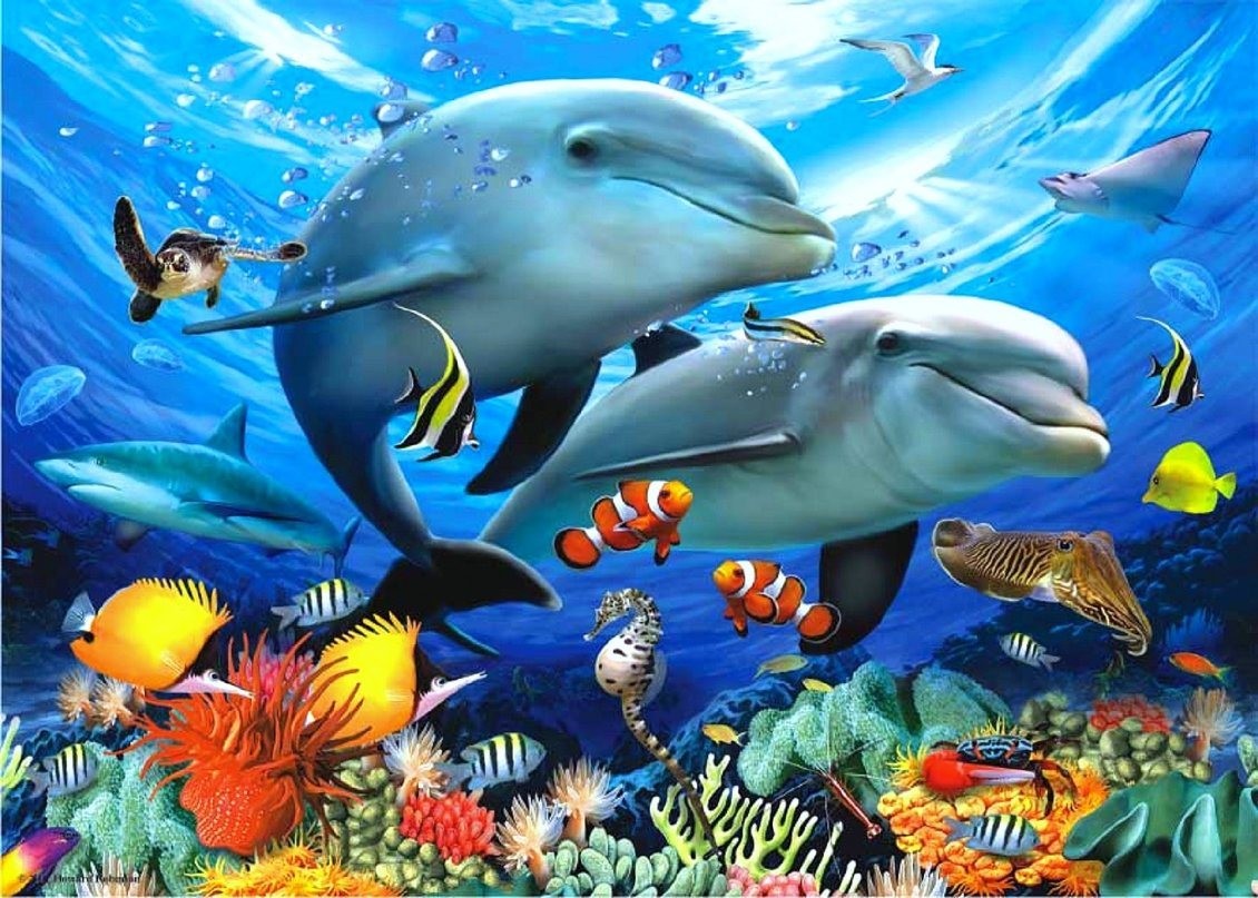 Download Wallpaper Happy fish family under water - Party all species
