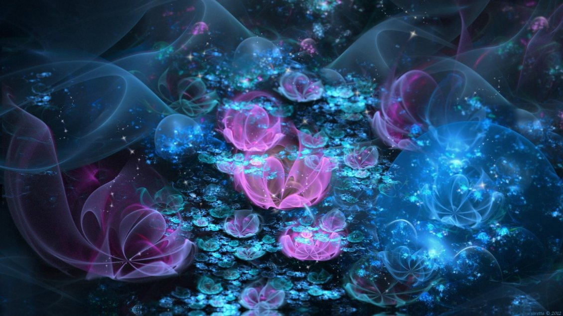 Pink And Blue Flowers Abstract Wallpaper
