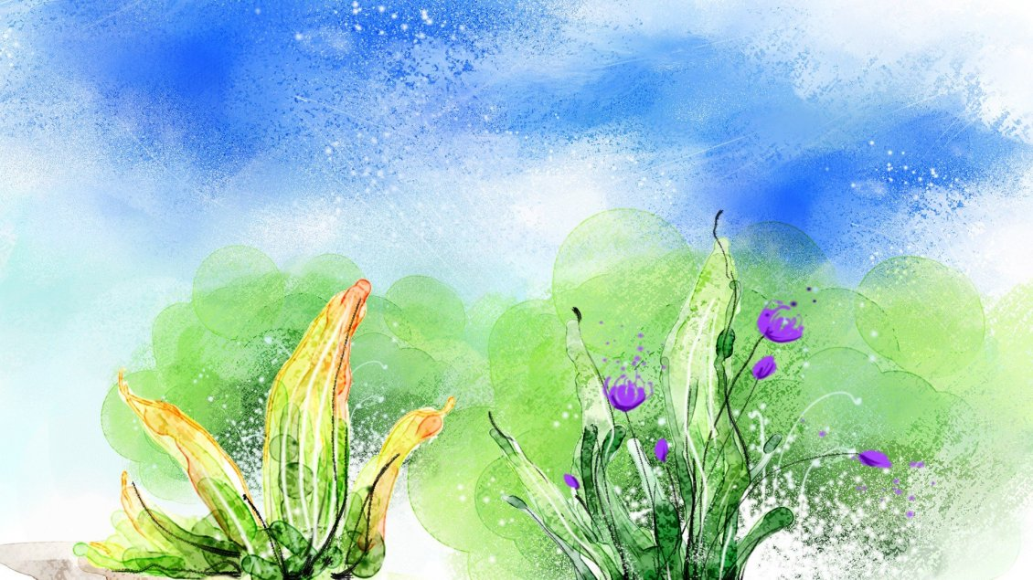Download Wallpaper Painting flowers - Wonderful colors