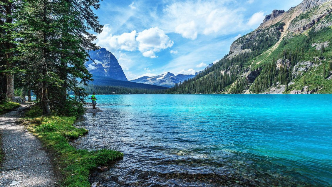 Download Wallpaper Wonderful blue clear mountain water-Fresh air beautiful view