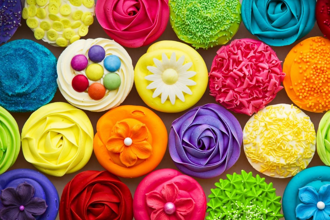 Download Wallpaper Happy and colorful brownies - Delicious muffins