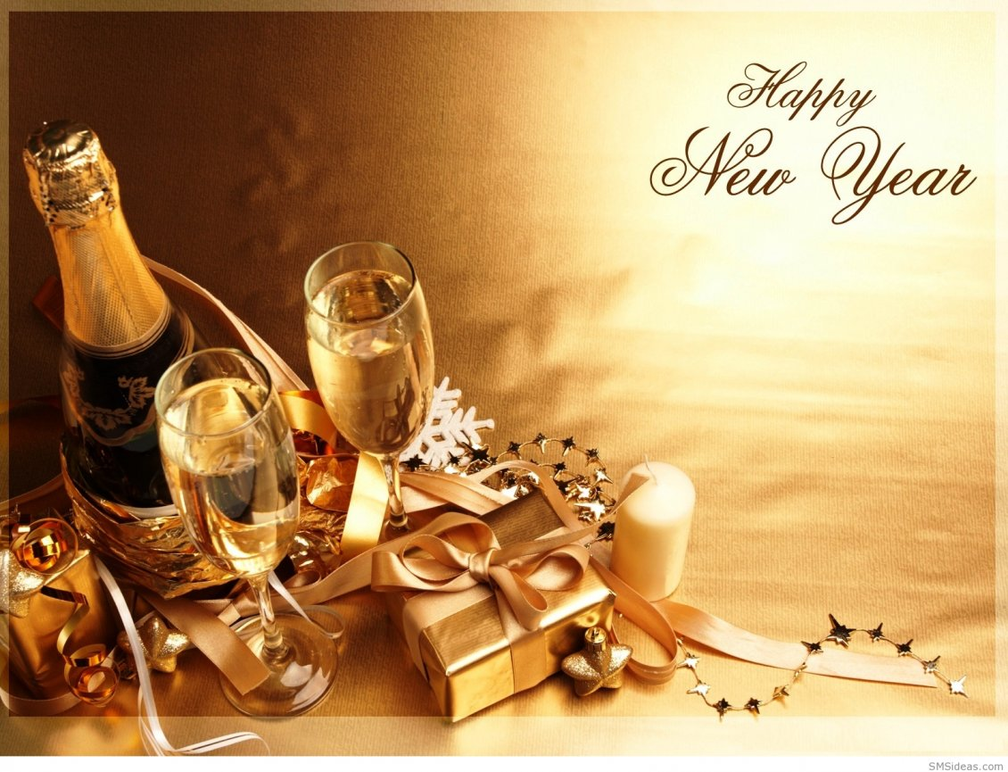 Download Wallpaper Chocolate and champagne - Happy New Year 2019