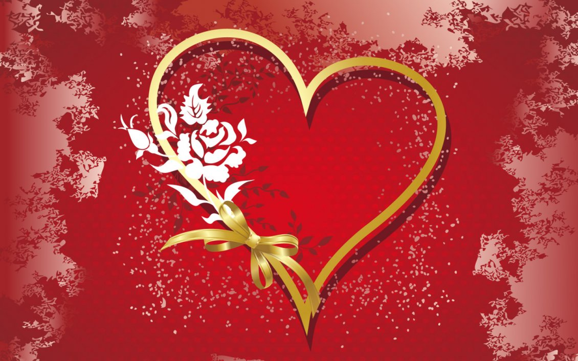 Download Wallpaper Golden heart made with a ribbon on a red background - Love