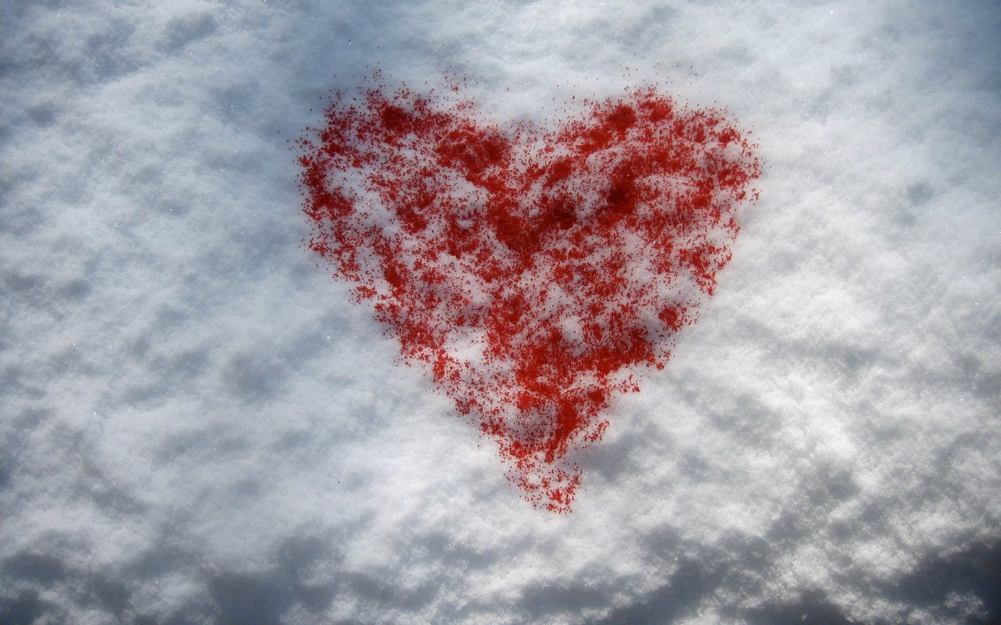 Download Wallpaper Red heart on the white snow - Happy Valentine's Day
