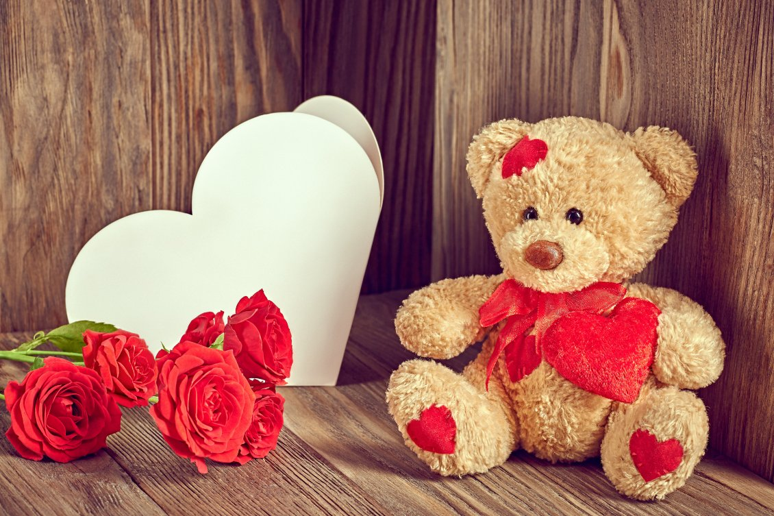 Download Wallpaper Chocolate, red rose and fluffy bear - Valentine's day