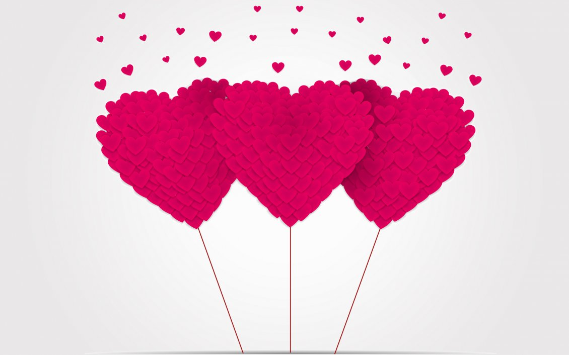 Download Wallpaper Three pink hearts made by hearts - Valentine's Day
