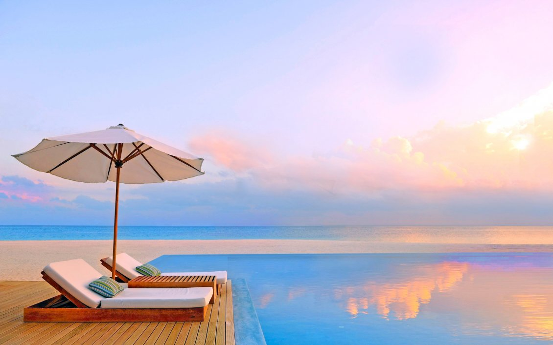 Download Wallpaper Infinity pool - Summer time relaxing holiday