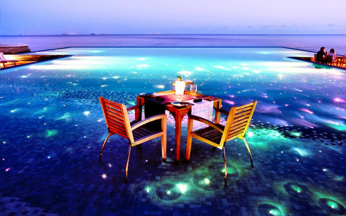 Download Wallpaper Romantic night in a magical place near ocean - HD wallpaper