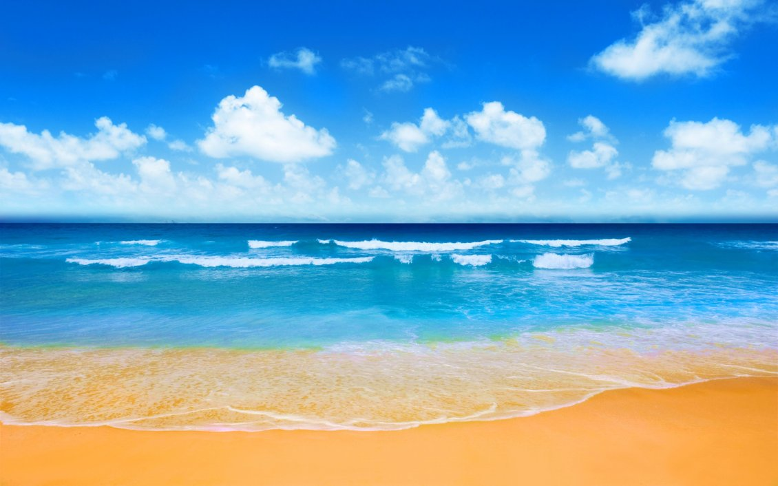 Download Wallpaper Brown sand and blue water - Summer holiday