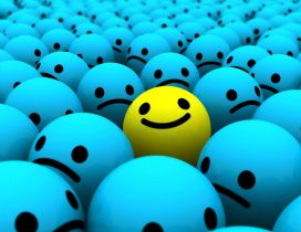 Smiley face - blue sad and yelow happy