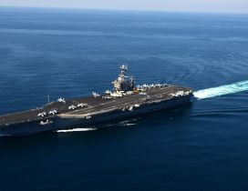 Aircraft carrier military ship on the ocean