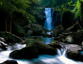 Waterfall on a river in the forest