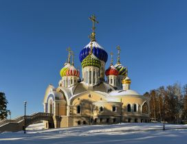 Moscow church with colored towers