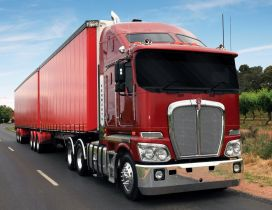 Awesome red Kenworth truck