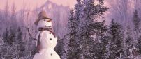 Snowman with hat and neckcloth near trees