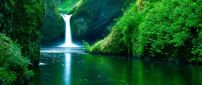 Magic waterfall in the green nature