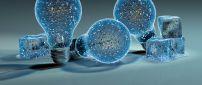 Frozen bulb and ice cubes - 3D wallpaper