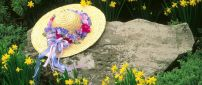 Hat adorned with flowers on a big stone