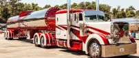 Red and white Peterbilt Truck