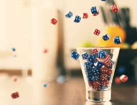 Lots of red and blue dice - social games