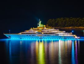 Yacht eclipse at night