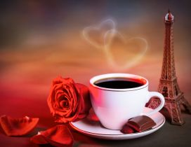 Coffee with love near the Tower Eiffel