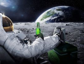 Drinking beer on the moon