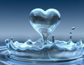 The water drop in the heart shape - Love wallpapers