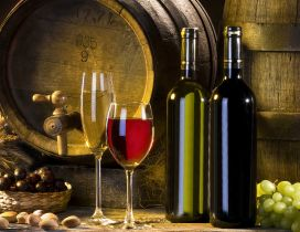 White and red wine in the cellar - Wine barrels