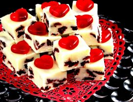 Sweet white cakes with love