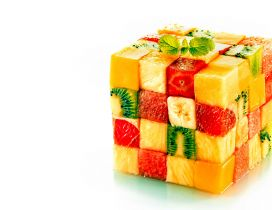 A cube made of pieces of fruits - Abstract wallpaper