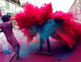 Two guys who throw colored powder