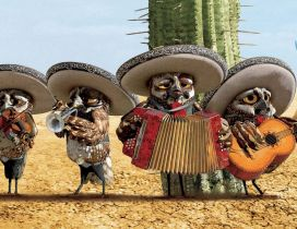 Rango movie - Four owls in a band in the desert