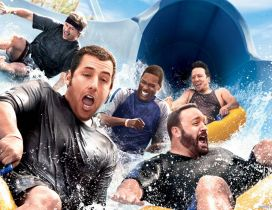 Actors on the water slide - Grown Ups