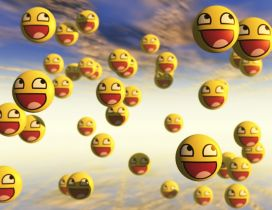 Many smiley faces flying