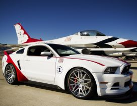 White and red Ford Mustang GT on the airport