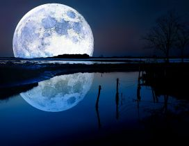 Big moon reflected in water