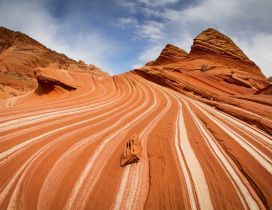 The Wave Coyote Buttes - Cliffs and white clouds