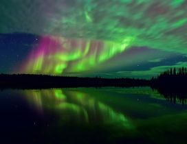 Aurora Borealis reflected in the water