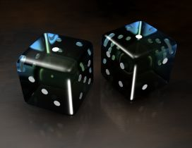 Two black dice - 3D Dice Wallpaper