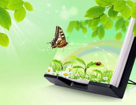 Beautiful spring landscape in the wallpaper