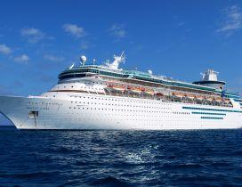 A wonderful white cruise ship on sea