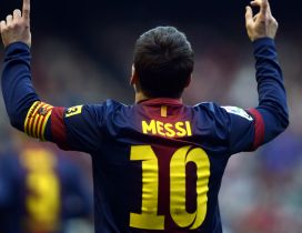 Lionel Messi on the stadium - T-shirt with number 10