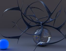 Abstract wallpaper - Blue ball and silver ball