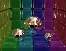 Three different balls between colorful cubes